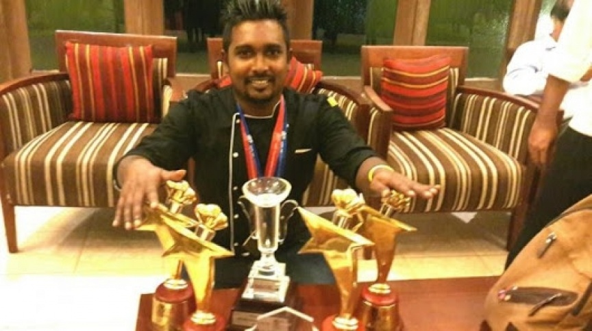 With his trophies